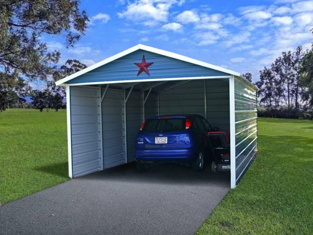 12x21 Boxed Eave Roof Single Car Carport Image