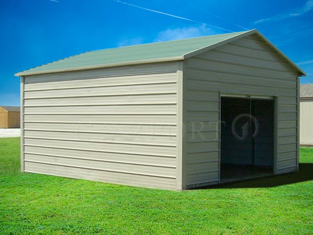 12x21 Boxed-Eave Roof One Car Garage Image
