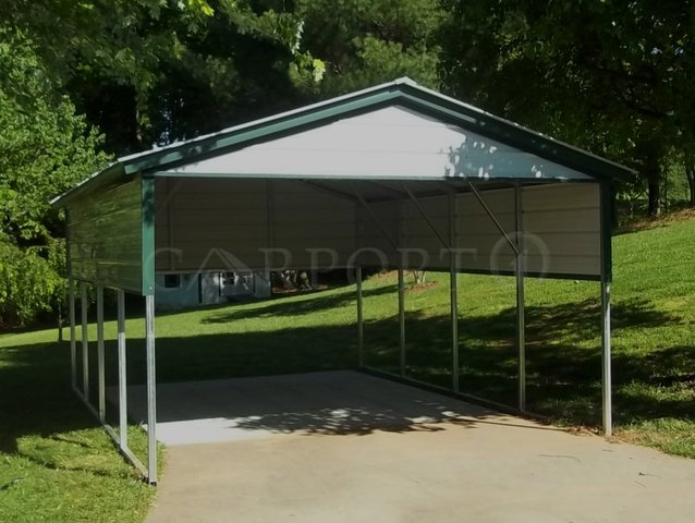 12x21 Vertical Roof Single Car Carport