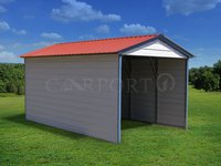 12x21 Vertical Roof 1 Car Carport Image