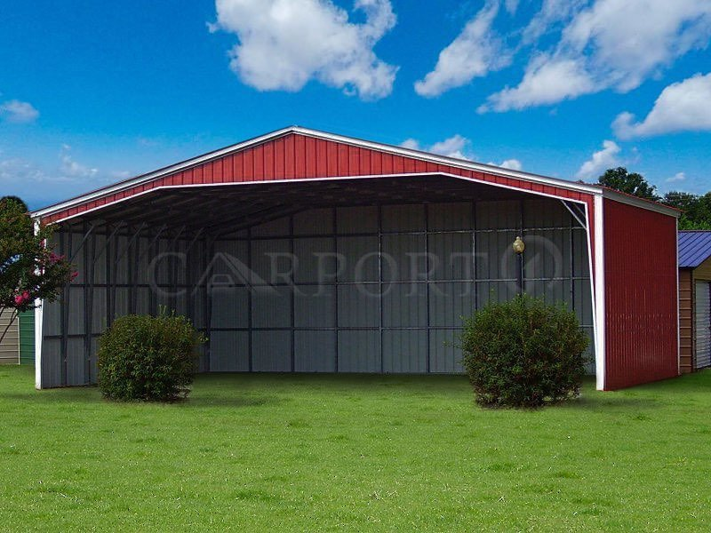 The featured Extra Wide Vertical Roof Carport comes with dimensions of 40'W x 32'L x 12'H. This metal carport is ideal for sheltering multiple cars and trucks.  These economic dimensions serve well for the outdoor storage of heavy-duty equipment, farm veh