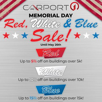 🇺🇸 Going on now! Save up to 15% THIS WEEKEND ONLY! Plus, free delivery and installation. 🇺🇸 Shop the best deals:  https://www.carport1.com