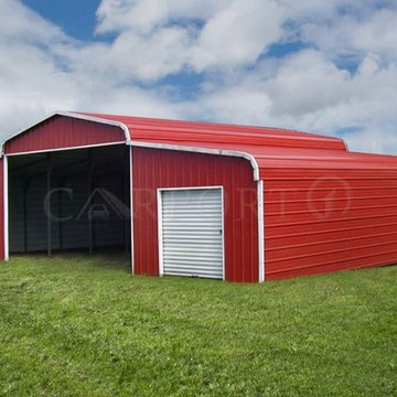 A custom metal barn is a secure place to store farm equipment and machinery, animal feed and hay, and, of course, your animals!  #metal #boatstorage #boatcover #garage #durable #rustfree #metalgarage #carport #verticalroof #carport1 #americanmade #madeina