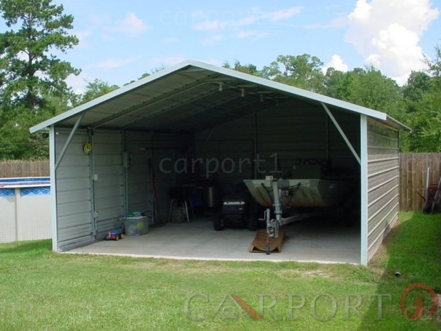 18x26 Boxed Eave Roof Double Car Carport Image