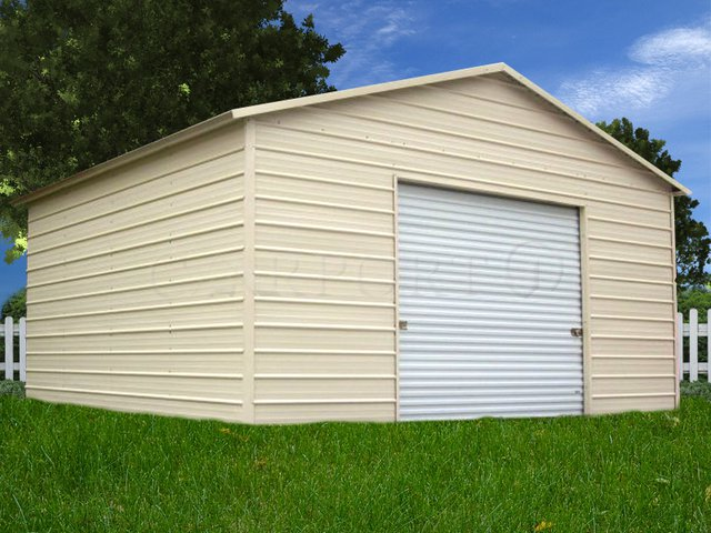 18x21 Boxed-Eave Roof Single Car Garage Image