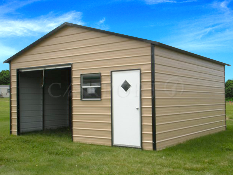 18x21 Boxed-Eave Roof 1 Car Garage