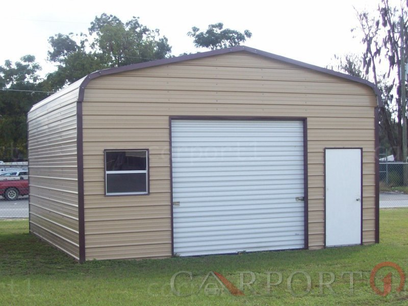 18x21 Regular Roof Single Car Metal Garage