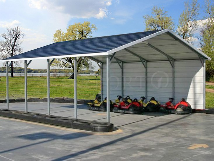 18x21 Boxed Eave Roof Double Cars Carport Image