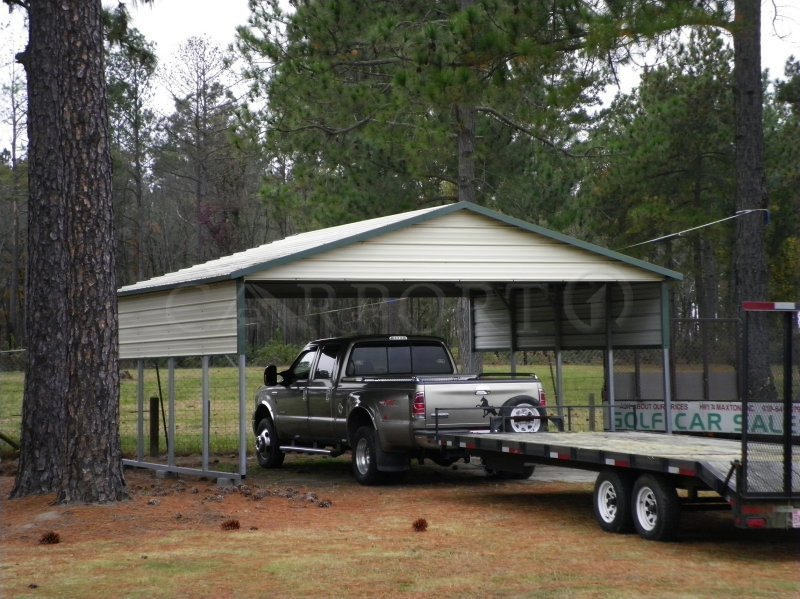 20x21 Boxed Eave Roof Style Double Car Carport