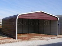 20x21 Regular Roof Style 2 Car Carport