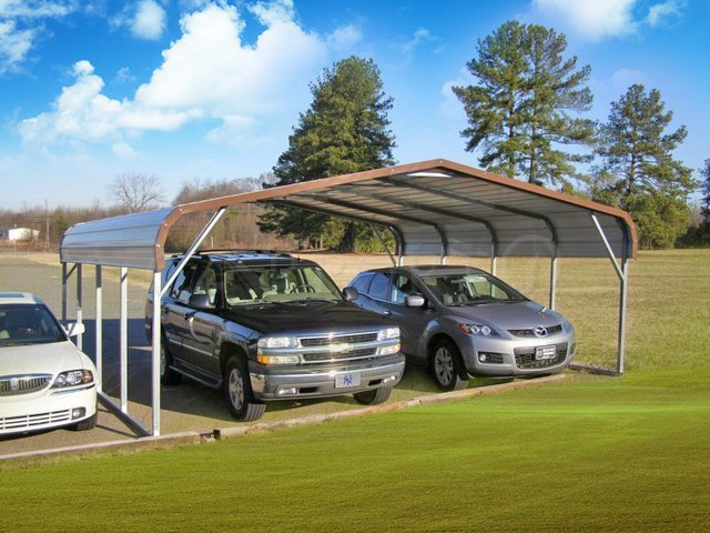 22x21 Regular Roof Two Car Carports Image
