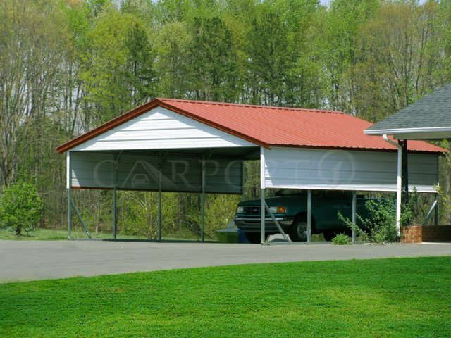 22x21 Vertical Roof Double Car Metal Carport
