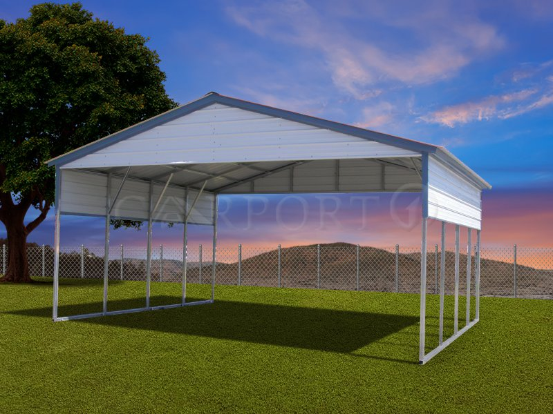 20x21 Vertical Roof Double Car Carport