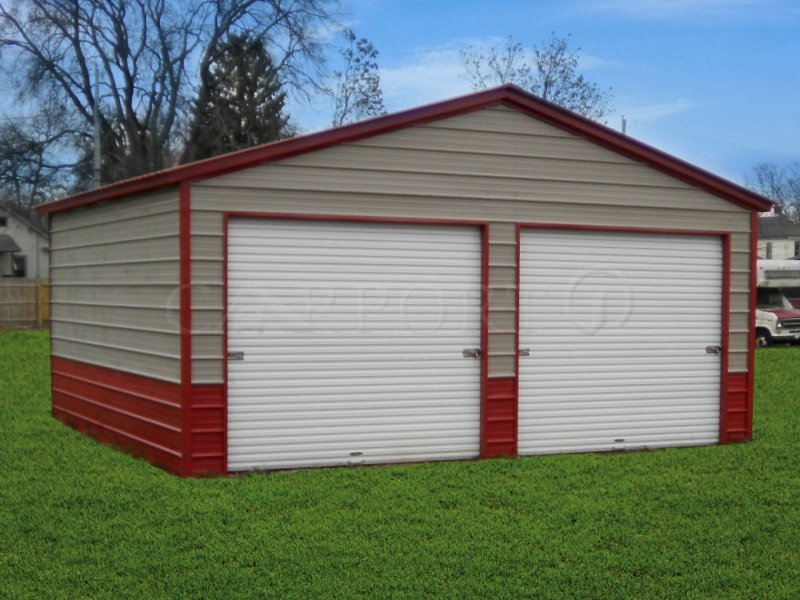 20x21 Vertical Roof Double Car Garage