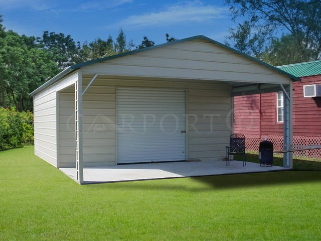 20x21 Boxed-Eave Roof One Car Utility Image
