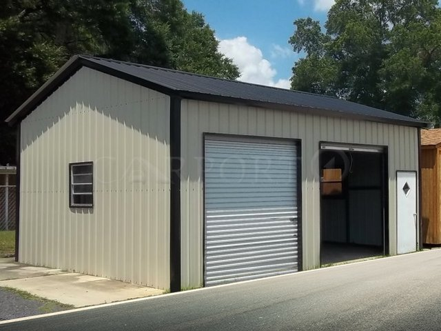 20x26 Vertical Roof Double Car Garage Image