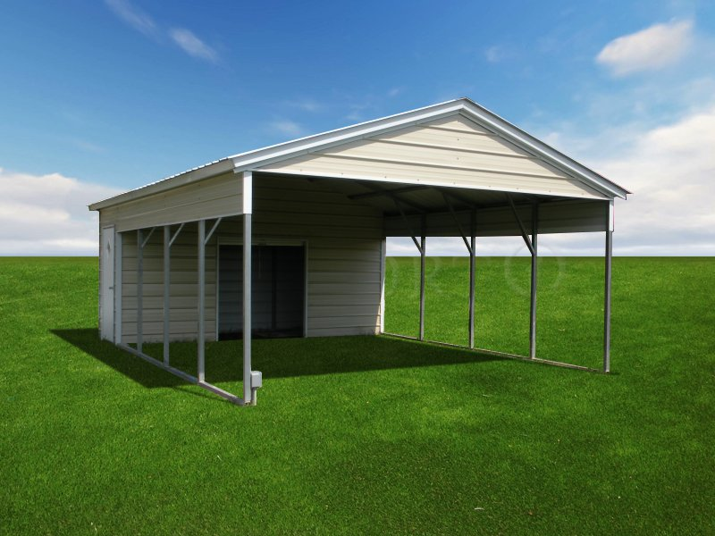 20x26 Vertical Roof Double Car Carport