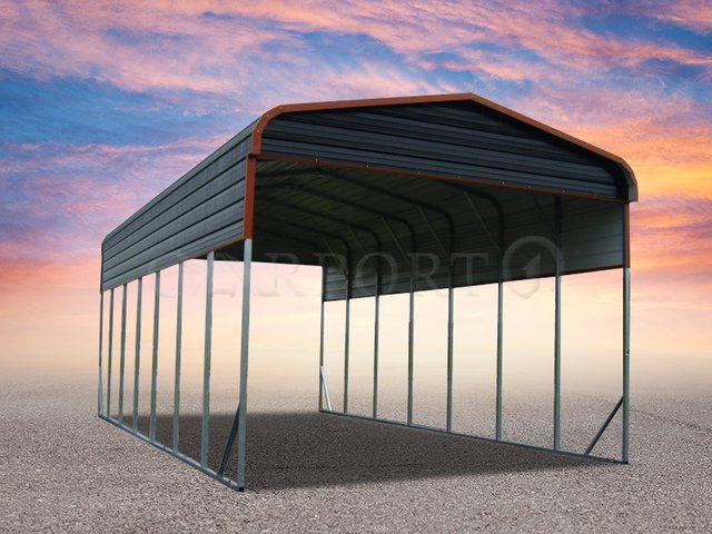 18×36 Boxed Eave Roof Single Car Carport Image