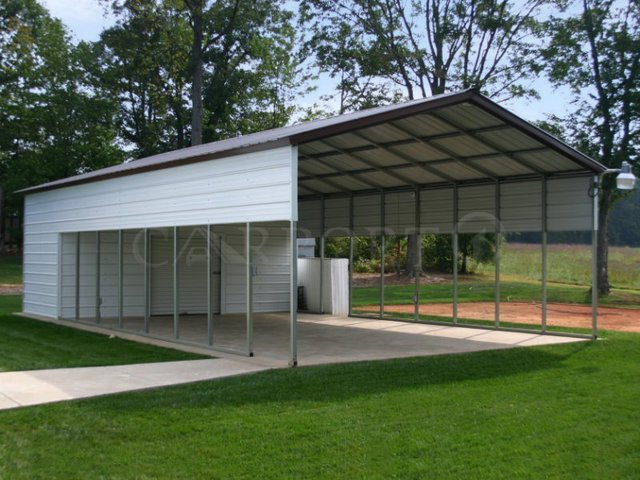 20x51 Vertical Roof Double Car All-Steel Carport Image