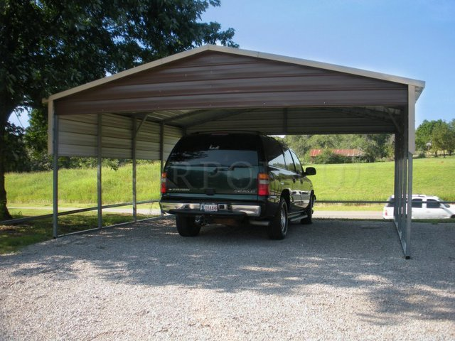 18x21 Boxed Eave Roof Double Car Carport Image