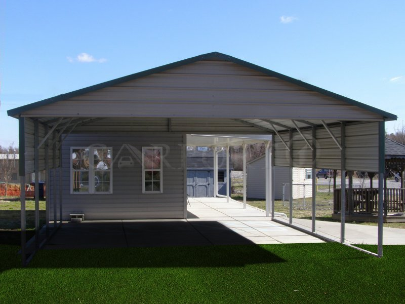 20x21 Boxed Eave Roof Double Car Carport