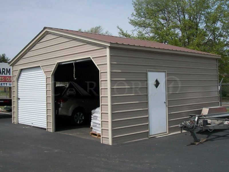 22x21 Vertical Roof Double Car Garage