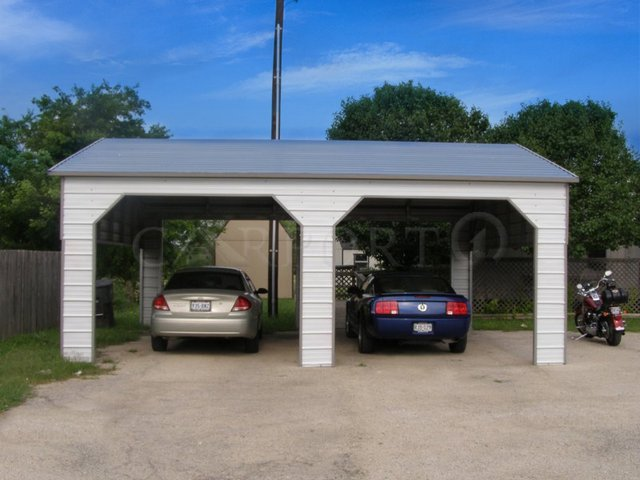 22x26 Boxed Eave Roof Double Car Carport