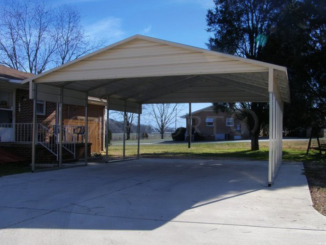 22x26 Boxed Eave Roof 2 Car Carport