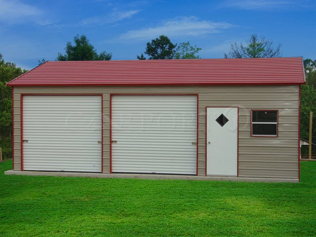 24x36 Boxed-Eave Roof Double Car Garage Image