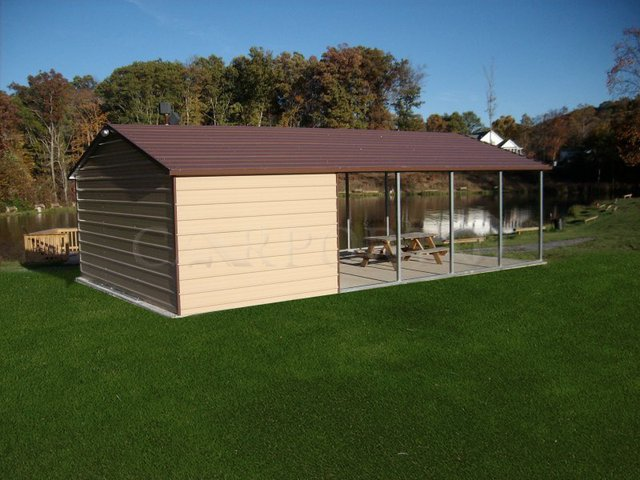 22x26 Boxed Eave Roof Double Car Carport Image