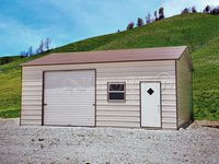 22x26 Boxed-Eave Roof One Car Garage Image