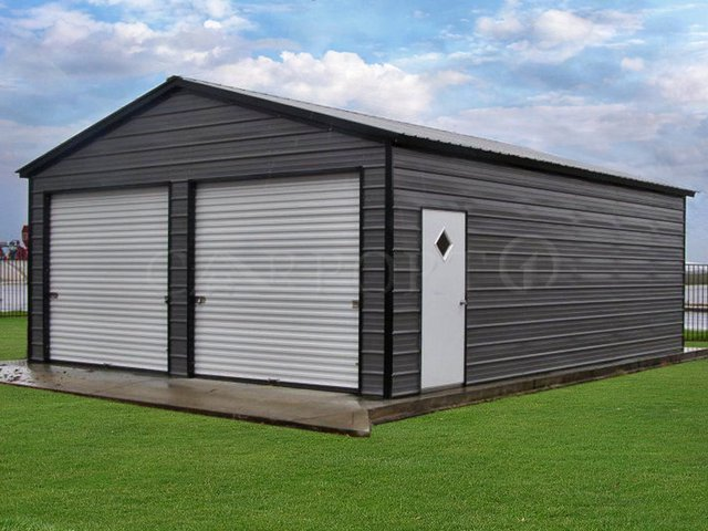 22x31 Vertical Roof Double Car Garage Image