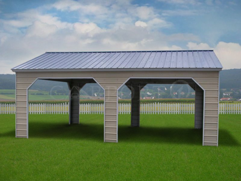 22x26 Vertical Roof Two Cars Eagle Carport
