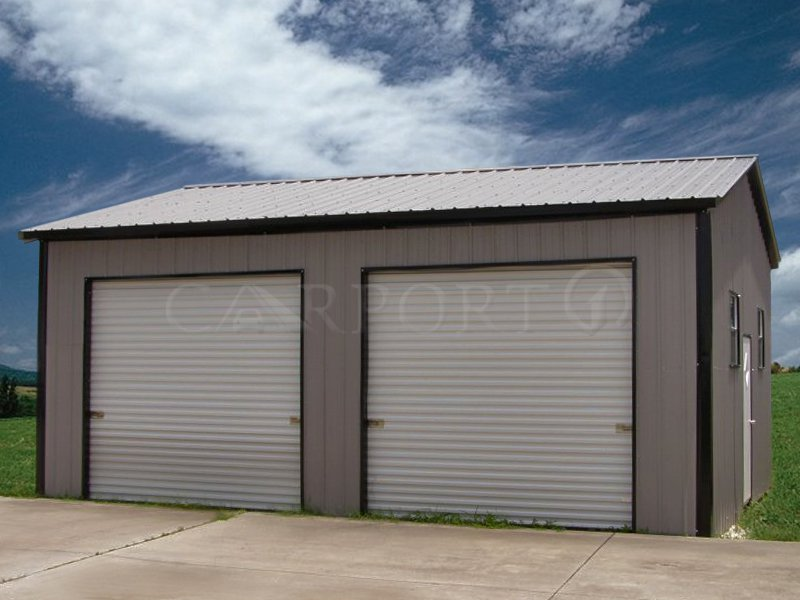 22x26 Vertical Roof Double Car Garage Image