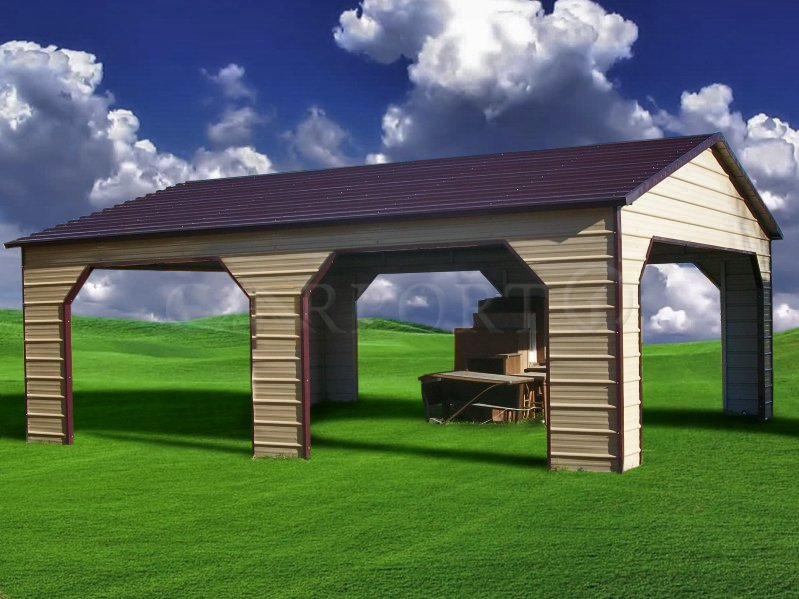 22x31 Boxed Eave Roof Double Car Carport