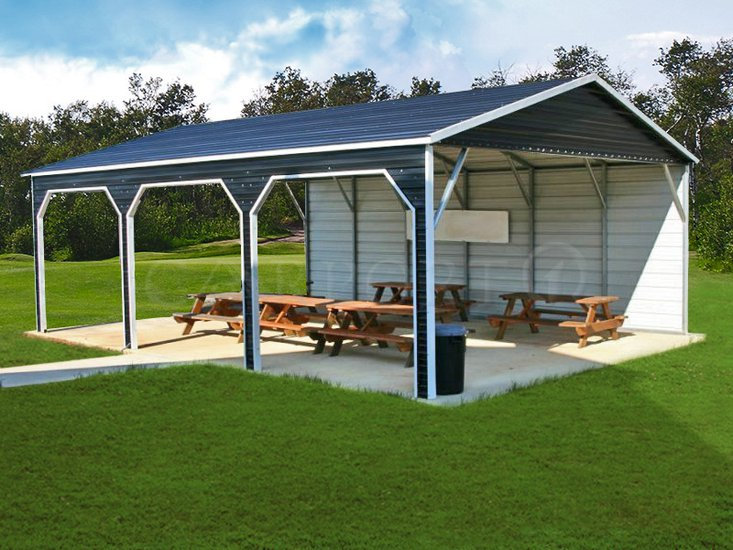 22x31 Boxed Eave Roof Triple Wide Carport