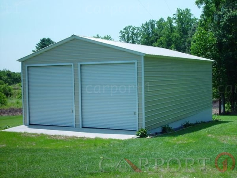24x31 Vertical Roof Double Car Garage