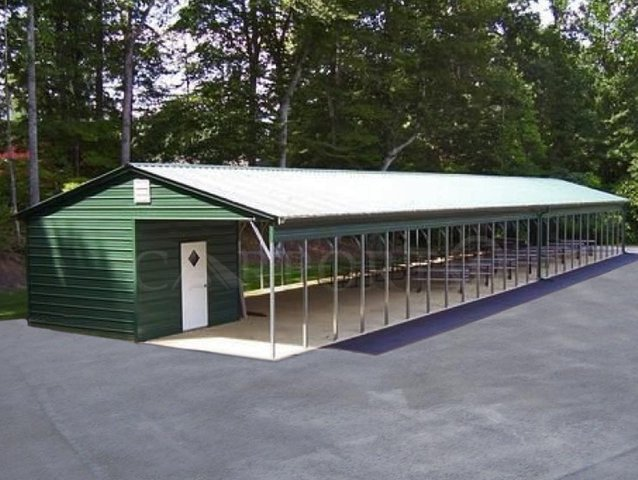 24x66 Vertical Roof Double Car Carport Image