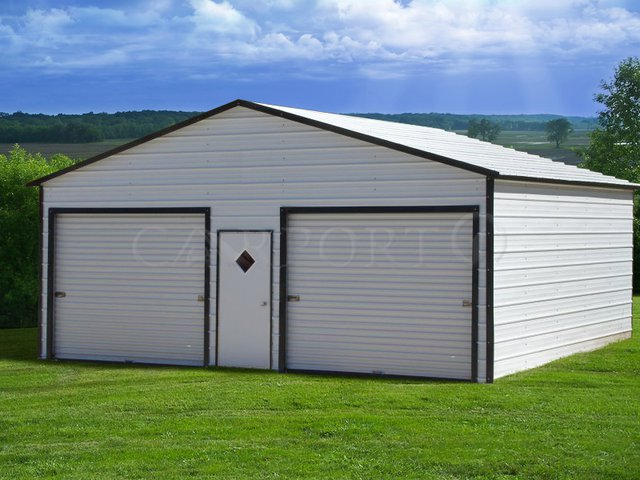 24x26 Boxed-Eave Roof Double Car Garage Image