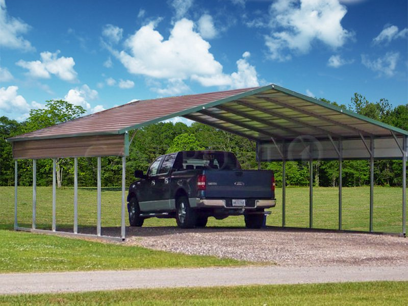 24x26 Boxed Eave Roof Double Car Carport Image