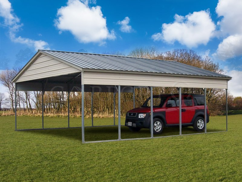 24x26 Vertical Roof Double Car Carport