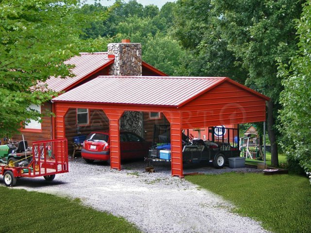 18x26 Vertical Roof Double Car Steel Carport