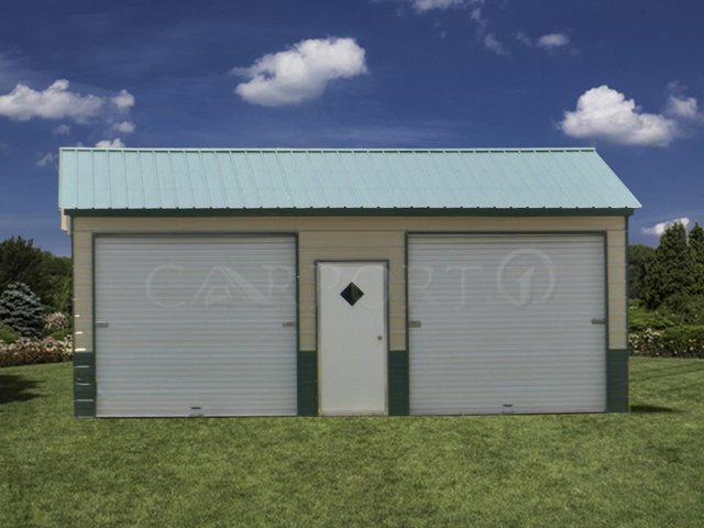 24x26 Vertical Roof Double Car Garage Image