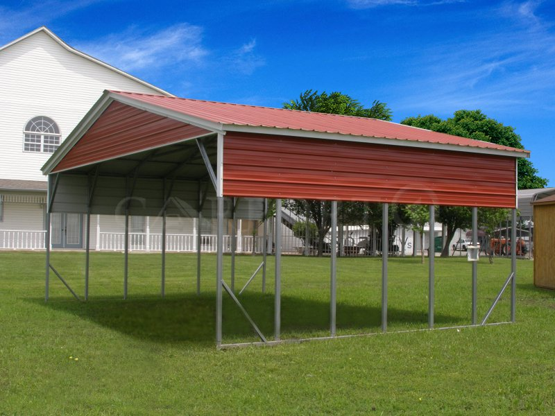 18x26 Vertical Roof Double Car Carport