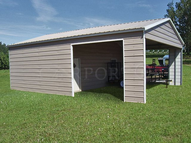 24x31 Vertical Roof Single Car Utility Image