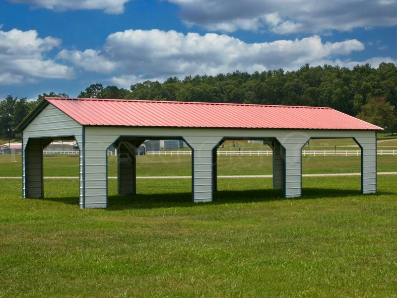 22x41 Vertical Roof Triple Car Carport