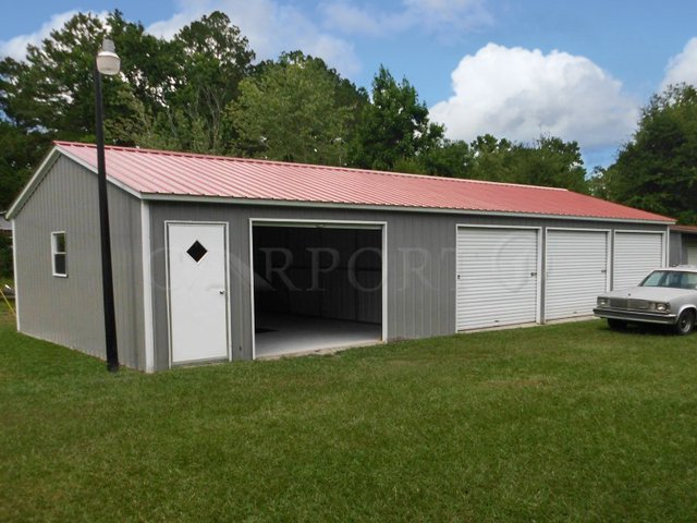 24x51 Vertical Roof Four-Car Garage Image