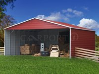 30x26 Boxed Eave Roof Triple Wide Steel Carport Image