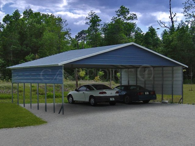 30x36 Boxed Eave Roof Triple Wide Metal Carport Image