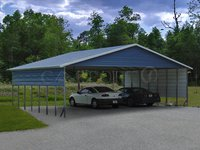 30x36 Boxed Eave Roof Triple Wide Metal Carport